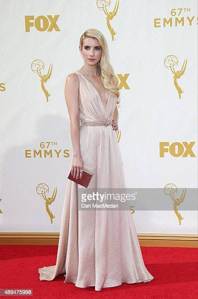 Actress Emma Roberts arrives at the 67th Annual Primetime Emmy Awards at the Microsoft Theater on September 20 2015 in Los Angeles California