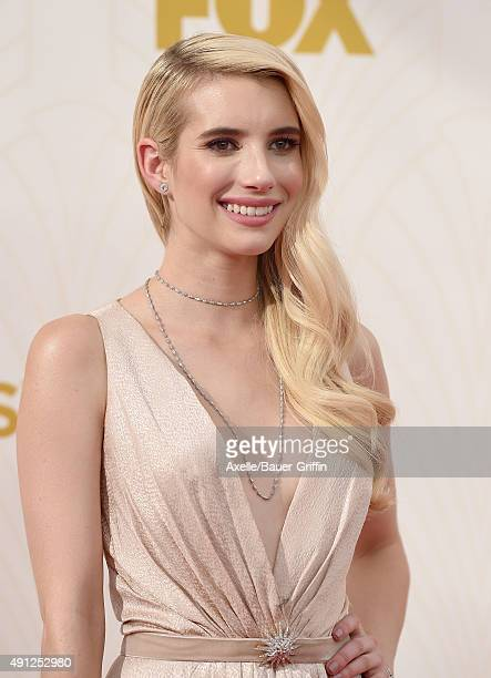 Actress Emma Roberts arrives at the 67th Annual Primetime Emmy Awards at Microsoft Theater on September 20 2015 in Los Angeles California