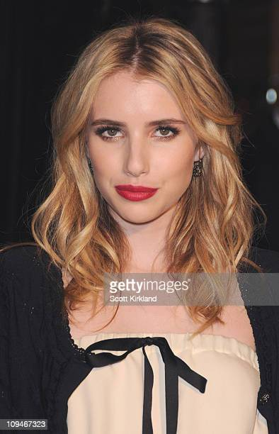 Actress Emma Roberts arrives at the Chanel Charles Finch PreOscar Dinner Celebrating Fashion Film at Madeo Restaurant on February 26 2011 in Los...