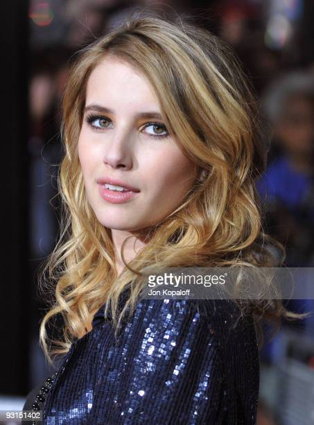 Actress Emma Roberts arrives at the Los Angeles Premiere jk'The Twilight Saga New Moon' at Mann Bruin Theatre on November 16 2009 in Westwood...
