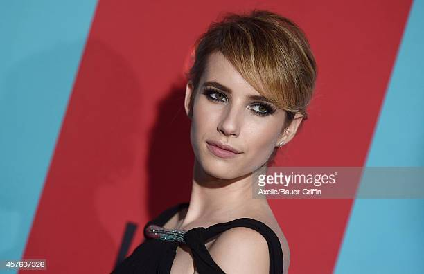 Actress Emma Roberts arrives at the Los Angeles premiere of 'American Horror Story: Freak Show' at TCL Chinese Theatre IMAX on October 5, 2014 in...