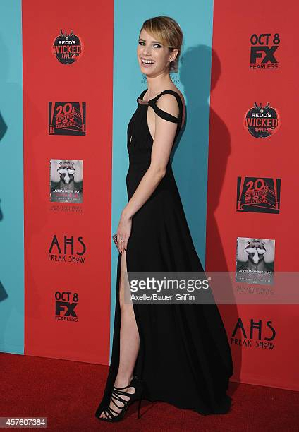 Actress Emma Roberts arrives at the Los Angeles premiere of 'American Horror Story Freak Show' at TCL Chinese Theatre IMAX on October 5 2014 in...