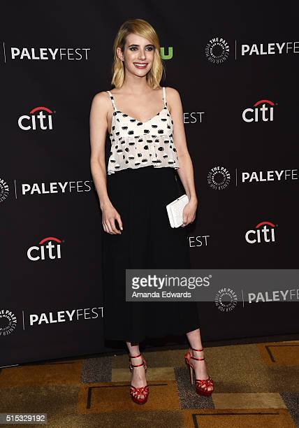 """Actress Emma Roberts arrives at The Paley Center For Media's 33rd Annual PaleyFest Los Angeles presentation of """"Scream Queens"""" at the Dolby Theatre..."""