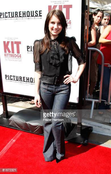 Actress Emma Roberts arrives at the Premiere Of Kit Kittredge An American Girl held at the Grove on June 14 2008 in Los Angeles California
