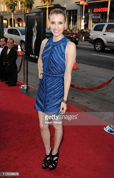 "Actress Emma Roberts arrives at the premiere of The Weinstein Company's ""Scream 4"" Presented by AXE Shower held at Grauman's Chinese Theatre on April..."