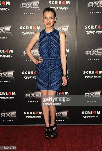 Actress Emma Roberts arrives at the premiere of the Weinstein Company's Scream 4 Presented by AXE Shower at Grauman's Chinese Theatre on April 11...
