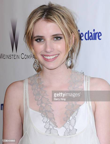 Actress Emma Roberts arrives at The Weinstein Company and Realativity Media's 2011 Golden Globes after party held at Bar 210 inside The Beverly...