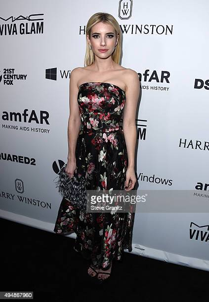 Actress Emma Roberts attends amfAR's Inspiration Gala Los Angeles at Milk Studios on October 29, 2015 in Hollywood, California.