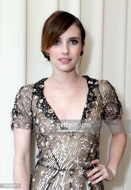 Actress Emma Roberts attends Grey Goose at 21st Annual Elton John AIDS Foundation Academy Awards Viewing Party at West Hollywood Park on February 24...