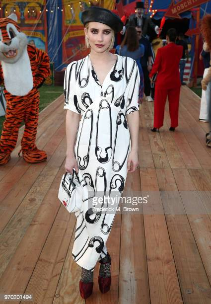 Actress Emma Roberts attends Moschino Spring/Summer 19 Menswear and Women's Resort Collection at the Los Angeles Equestrian Center on June 8 2018 in...