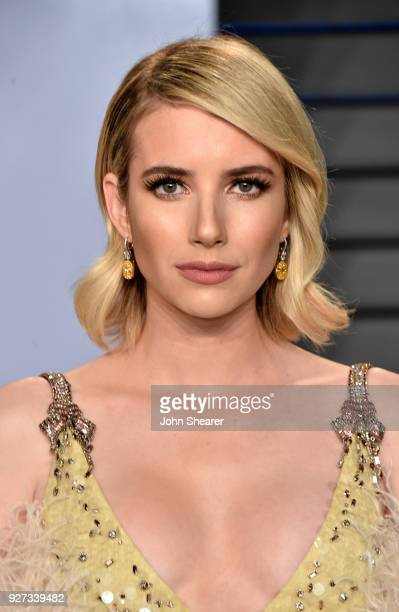 Actress Emma Roberts attends the 2018 Vanity Fair Oscar Party hosted by Radhika Jones at Wallis Annenberg Center for the Performing Arts on March 4...