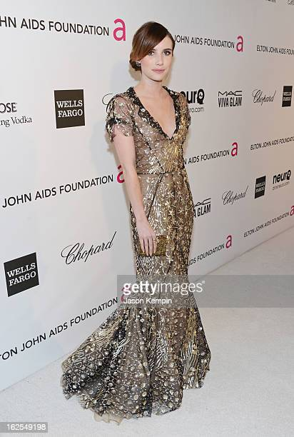 Actress Emma Roberts attends the 21st Annual Elton John AIDS Foundation Academy Awards Viewing Party at West Hollywood Park on February 24 2013 in...