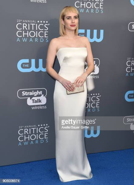 Actress Emma Roberts attends the 23rd Annual Critics' Choice Awards at Barker Hangar on January 11 2018 in Santa Monica California
