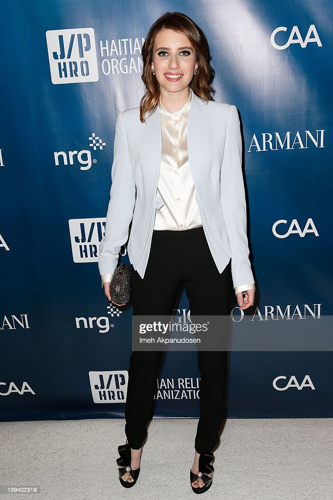 Actress Emma Roberts attends the 2nd Annual Sean Penn and Friends Help Haiti Home Gala benefiting J/P HRO presented by Giorgio Armani at Montage Hotel on January 12, 2013 in Los Angeles, California.