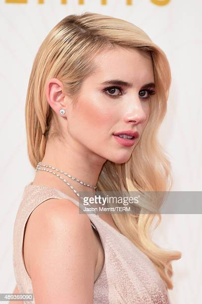 Actress Emma Roberts attends the 67th Annual Primetime Emmy Awards at Microsoft Theater on September 20 2015 in Los Angeles California