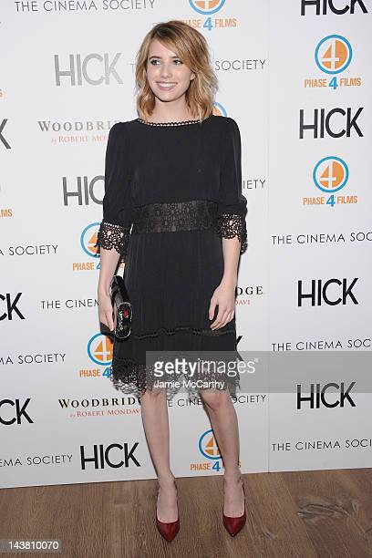 Actress Emma Roberts attends the Cinema Society Phase 4 Films screening of Hick at the Crosby Street Hotel on May 3 2012 in New York City