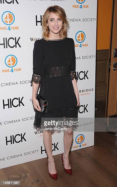 """Actress Emma Roberts attends the Cinema Society & Phase 4 Films screening of """"Hick"""" at the Crosby Street Hotel on May 3, 2012 in New York City."""