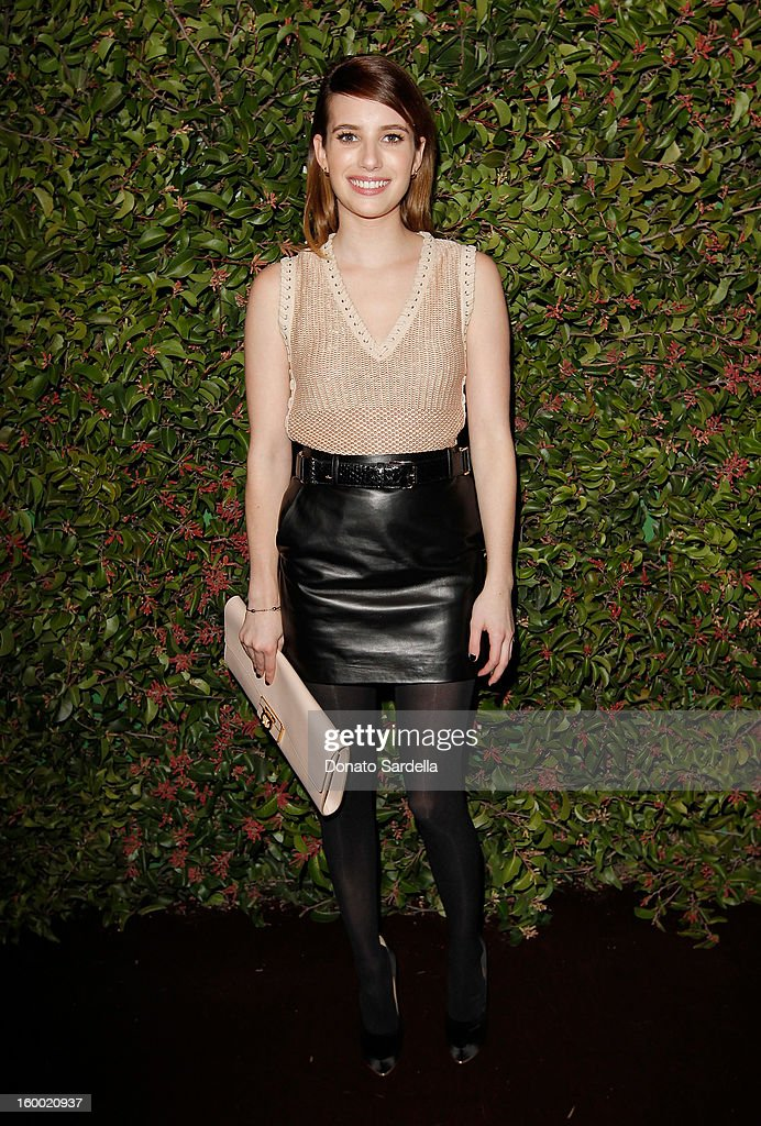 Actress Emma Roberts attends the Ferragamo presentation Spring Summer Runway Collection with VIP dinner, hosted by Jacqui Getty and Harpers BAZAAR at Chateau Marmont on January 24, 2013 in Los Angeles, California.