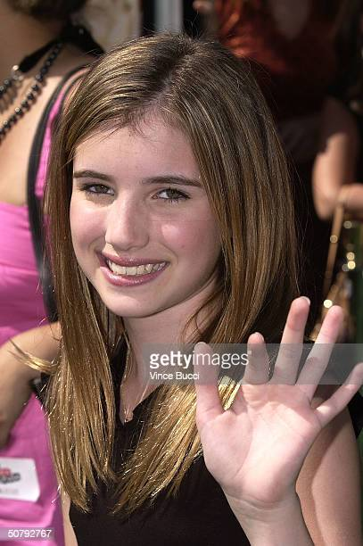 Actress Emma Roberts attends the Los Angeles premiere of the Warner Brothers film 'New York Minute' on May 1 2004 at the Grauman's Chinese Theatre in...