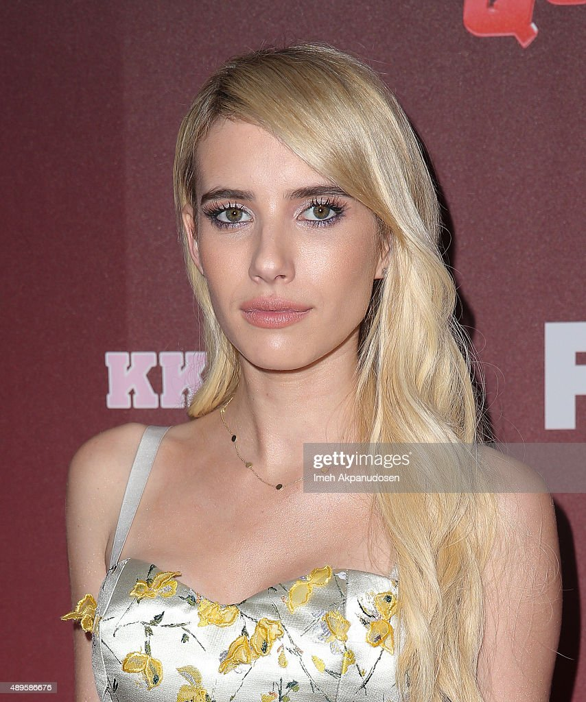Actress Emma Roberts attends the premiere of FOX TV's 'Scream Queens' at The Wilshire Ebell Theatre on September 21, 2015 in Los Angeles, California.