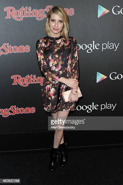 Actress Emma Roberts attends the Rolling Stone and Google Play GRAMMY Party at El Rey Theatre on February 5 2015 in Los Angeles California
