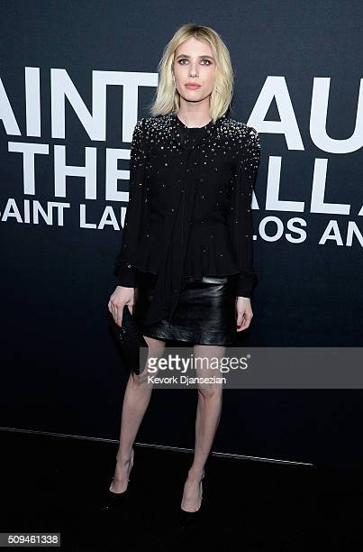 Actress Emma Roberts attends the Saint Laurent show at The Hollywood Palladium on February 10 2016 in Los Angeles California