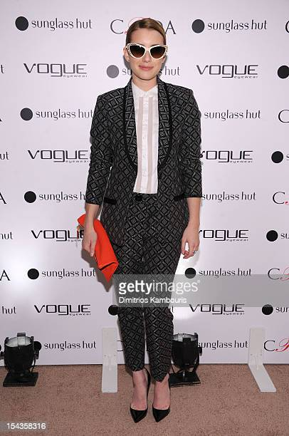 4ba894be14 Actress Emma Roberts attends the Vogue Eyewear and CFDA unveiling of the  Emma sunglass with Nanette