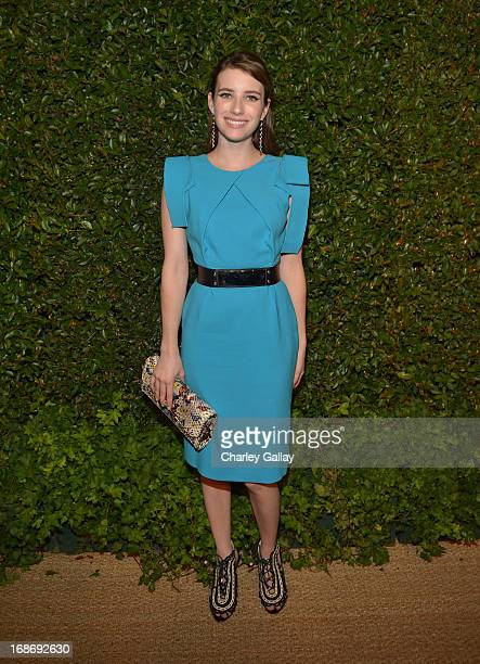 Actress Emma Roberts attends Vogue and MAC Cosmetics dinner hosted by Lisa Love and John Demsey in honor of Prabal Gurung at the Chateau Marmont on...