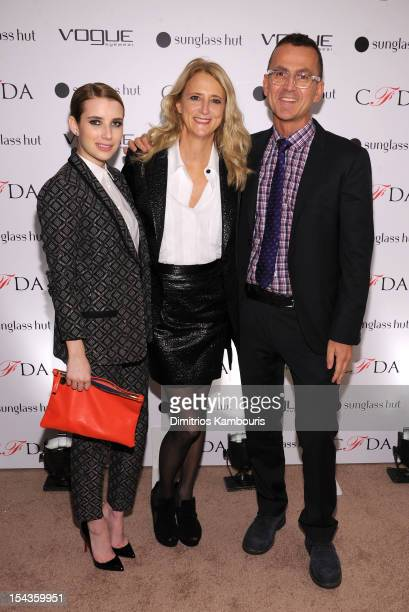 Actress Emma Roberts designer Nanette Lepore and CEO of CFDA Steven Kolb attend the Vogue Eyewear and CFDA unveiling of the Emma sunglass with...
