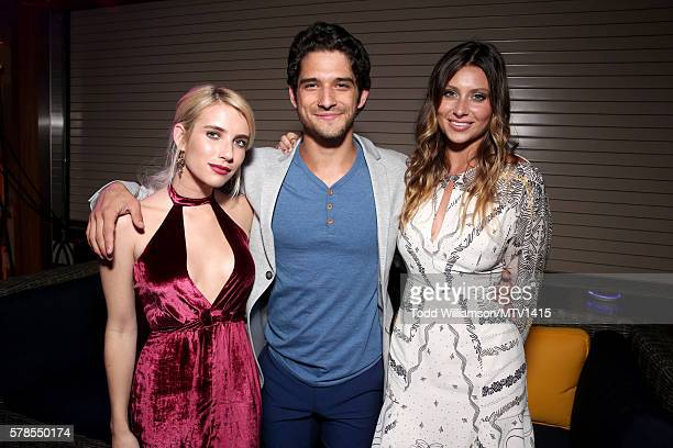 Actress Emma Roberts Host Tyler Posey and actress Aly Michalka pose backstage at the MTV Fandom Awards San Diego at PETCO Park on July 21 2016 in San...