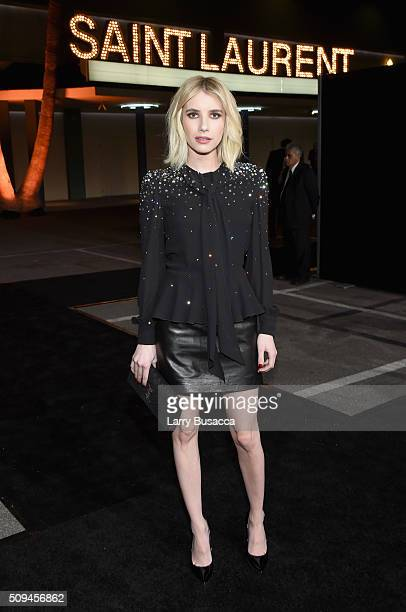 Actress Emma Roberts in Saint Laurent by Hedi Slimane attends Saint Laurent at the Palladium on February 10 2016 in Los Angeles California for the...