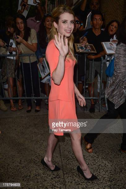 Actress Emma Roberts leaves the Live With Kelly And Michael taping at the ABC Lincoln Center Studios on August 8 2013 in New York City