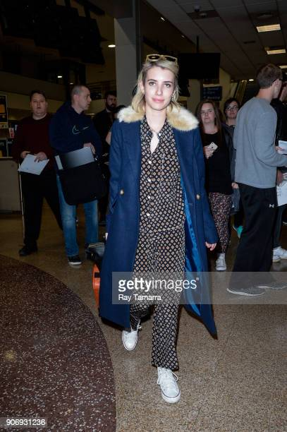 Actress Emma Roberts leaves the Salt Lake City International Airport on January 18 2018 in Salt Lake City Utah