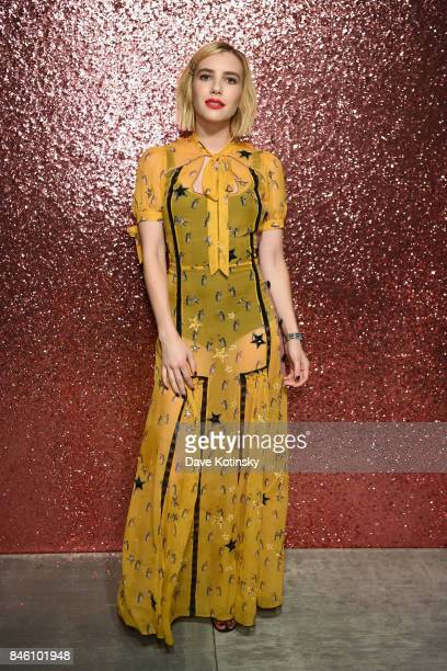 Actress Emma Roberts poses for a portrait during Coach Spring 2018 Fashion Show during New York Fashion Week at Basketball City Pier 36 South Street...