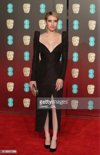 US actress Emma Roberts poses on the red carpet upon arrival at the BAFTA British Academy Film Awards at the Royal Albert Hall in London on February...