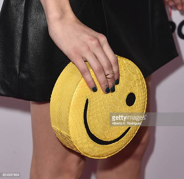 Actress Emma Roberts purse detail attends the 3rd Annual Airbnb Open Spotlight at Various Locations on November 19 2016 in Los Angeles California