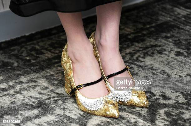 Actress Emma Roberts shoe detail attends Build Series to discuss 'The Blackcoat's Daughter' at Build Studio on March 23 2017 in New York City