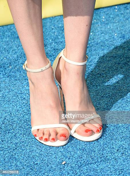 Actress Emma Roberts shoe detail attends the Teen Choice Awards 2015 at the USC Galen Center on August 16 2015 in Los Angeles California