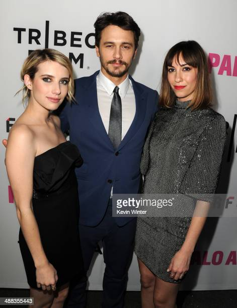 Actress Emma Roberts writer/actor James Franco and writer/director Gia Coppola attend the premiere of Tribeca Film's 'Palo Alto' at the Directors...