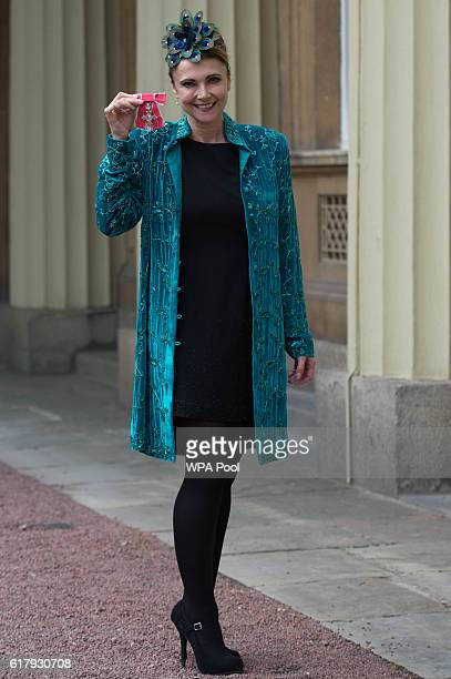 Actress Emma Samms after receiving her Member of the Order of the British Empire at Buckingham Palace on October 25 2016 in London England