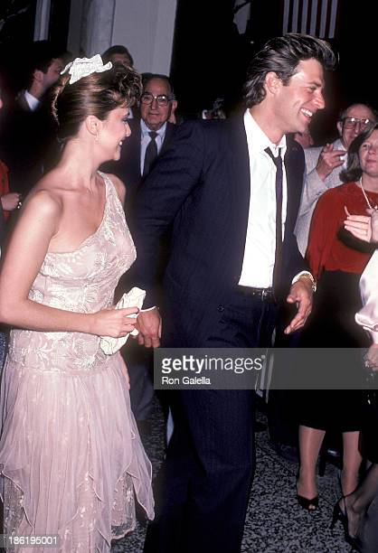 Actress Emma Samms and actor John James attend 'Dynasty' Cast Crew Party on October 25 1985 at the Beverly Wilshire Hotel in Beverly Hills California