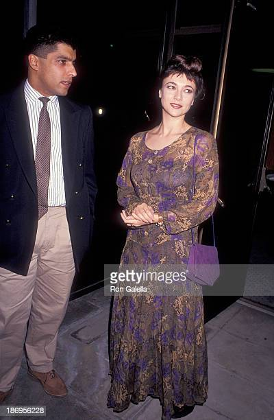 Actress Emma Samms and husband Bansi Nagji attend the Backdraft Beverly Hills Premiere on May 22 1991 at the Academy Theatre in Beverly Hills...