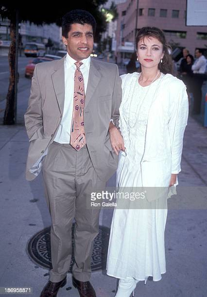 Actress Emma Samms and husband Bansi Nagji attend the Taco Bell's Rock Art Cups for Charity Promotional Campaign KickOff Celebration on August 6 1991...