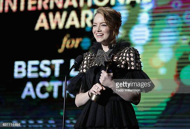 Actress Emma Stone accepts the award for Best Actress for La La Land at The 6th AACTA International Awards on January 6 2017 in Los Angeles California