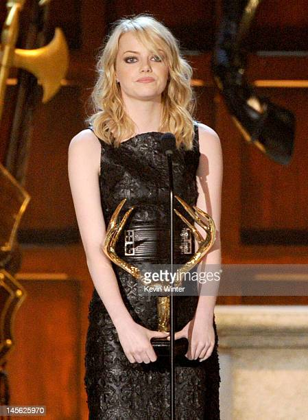 Actress Emma Stone accepts the award for Mano y Mano Hot Funny onstage during Spike TV's 6th Annual Guys Choice Awards at Sony Pictures Studios on...