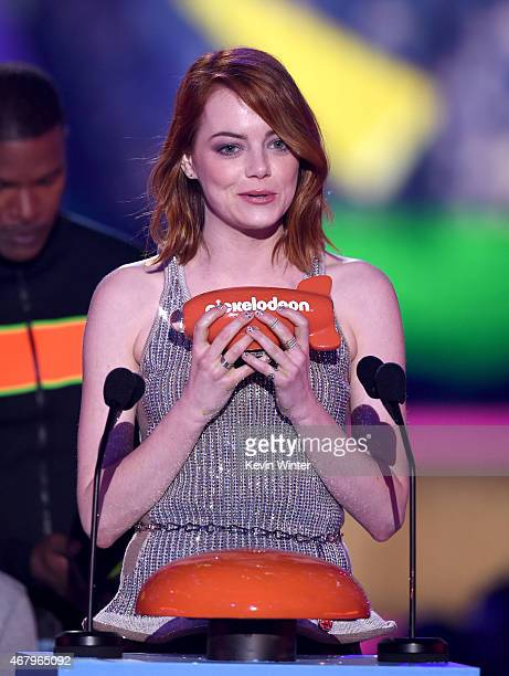 Actress Emma Stone accepts the Favorite Movie Actress award for The Amazing SpiderMan 2 onstage during Nickelodeon's 28th Annual Kids' Choice Awards...