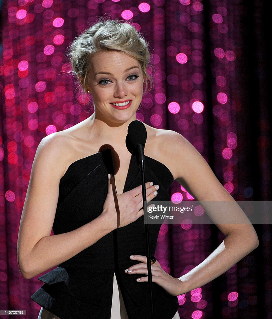 Actress Emma Stone accepts the Trailblazer Award onstage during the 2012 MTV Movie Awards held at Gibson Amphitheatre on June 3, 2012 in Universal City, California.