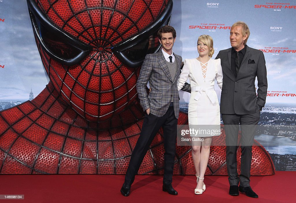 Actress Emma Stone, actor Andrew Garfield (L) and actor Rhys Ilfans attend the Germany premiere of 'The Amazing Spider-Man' at Sony Center on June 20, 2012 in Berlin, Germany.