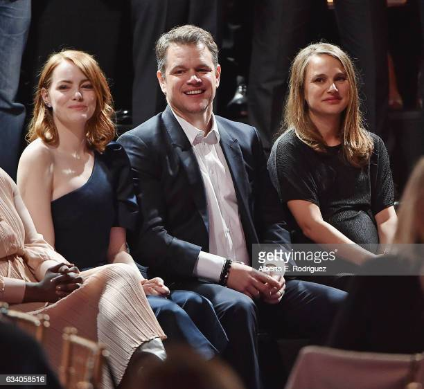 Actress Emma Stone actor/producer Matt Damon and actress Natalie Portman attend the 89th Annual Academy Awards Nominee Luncheon at The Beverly Hilton...