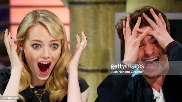 "Actress Emma Stone and actor Andrew Garfield attend ""El Hormiguero"" Tv show at Vertice Studio on July 5, 2012 in Madrid, Spain."